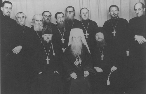 Priest Alexander Feohari and others at Liege 1949.jpg